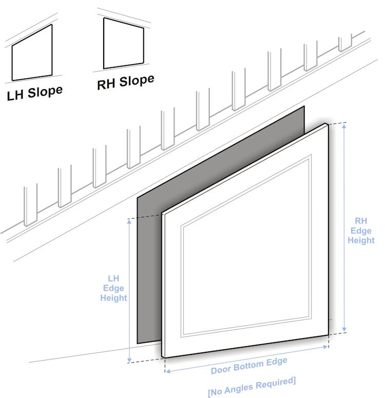 Doors to size angled door guide for Door under stairs