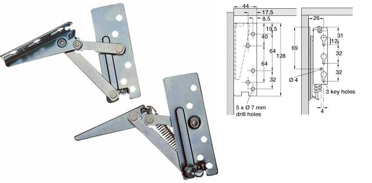 Swing up flap hinges